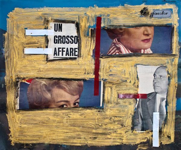Elisa Abela, Un grosso affare, 2011. Collage su manifesto pubblicitario con colori a olio e nastro isolante, 56,5 x 47 cm