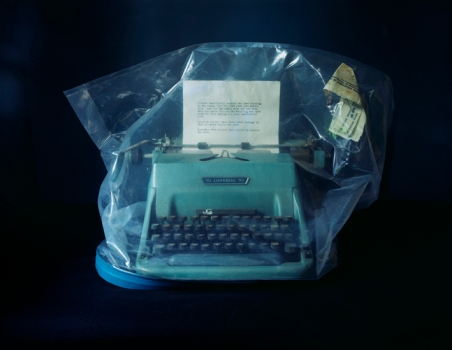 Evidence- article 5, ransom note and typewriter recovered from a furniture warehouse basement, Texas, USA,Annabel Elgar 2014